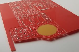 1up panel PCB with red soldermask