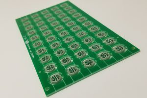 Small round printed circuit boards panelized